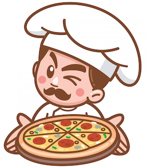 Vector illustration of cartoon pizza chef presenting food