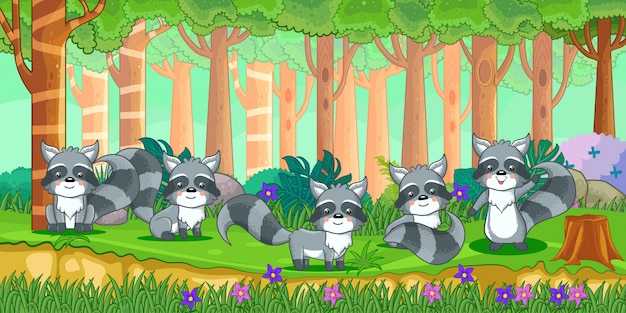Vector illustration of cartoon raccoons in the jungle