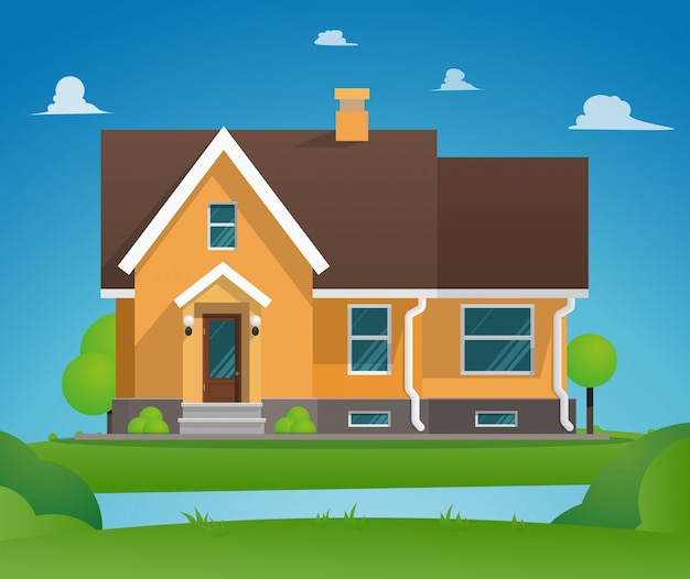 Vector illustration cartoon residential townhouse.