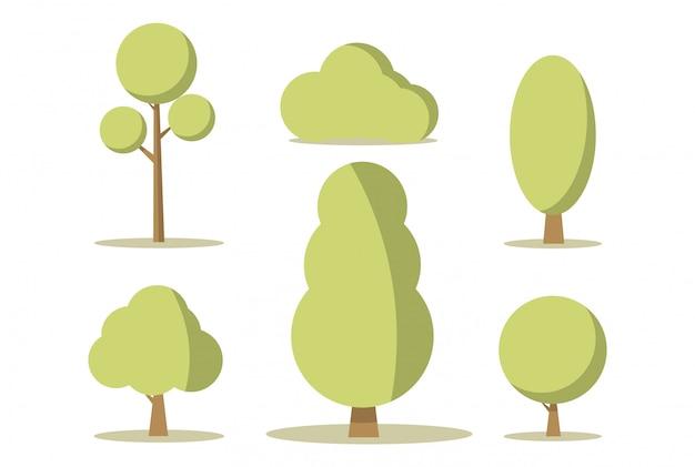 Векторные иллюстрации мультфильм набор зеленых деревьев