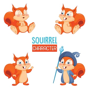 Vector illustration of cartoon squirrel
