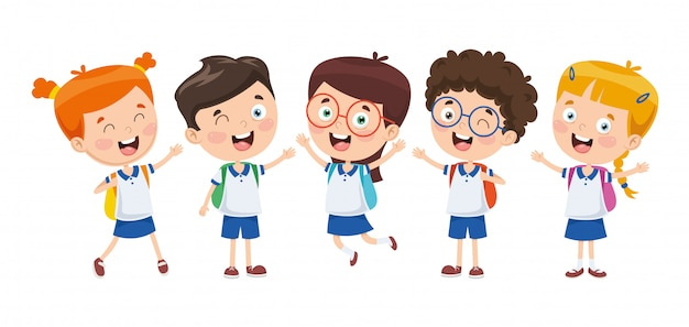 Vector illustration of cartoon students