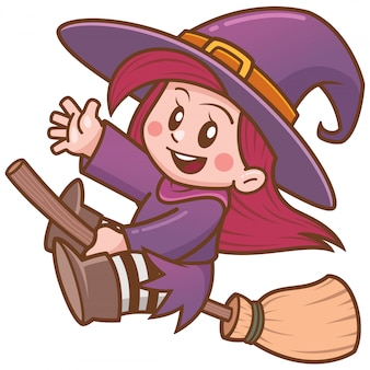 Vector illustration of cartoon witch flying on broom