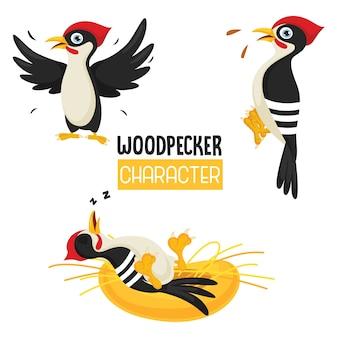 Vector illustration of cartoon woodpecker