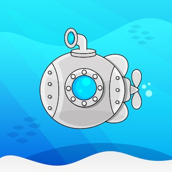 Vector illustration of cartoon yellow and red submarine isolated on white background