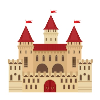 Vector illustration of a castle in flat style. medieval stone fortress. abstract fantasy castle