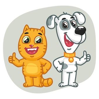 ベクトルイラスト、猫と犬は親指を立てる、フォーマットeps 10
