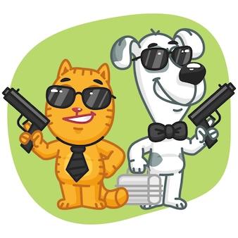 ベクトルイラスト、猫と犬のスーパースパイキープ武器ケース、フォーマットeps 10