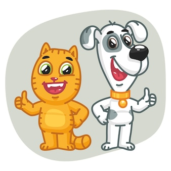 Vector illustration, cat and dog show thumbs up, format eps 10