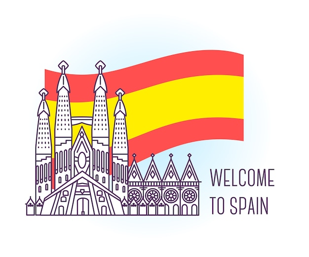 Vector illustration of catholic cathedral. barcelona landmark. symbol of spain. sight-seeing of europe.