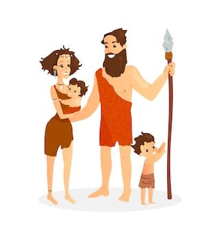 Vector illustration of cavemen family