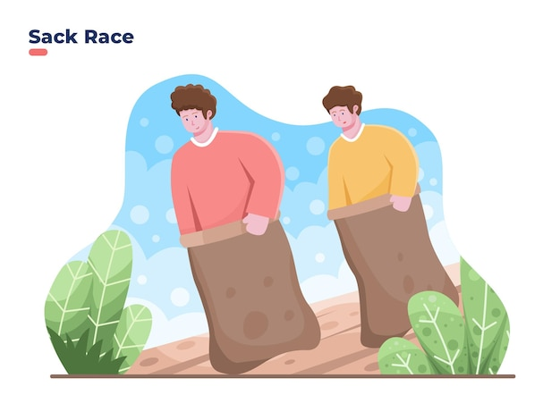 Vector illustration of celebrate indonesia independence day with sack race or balap karung