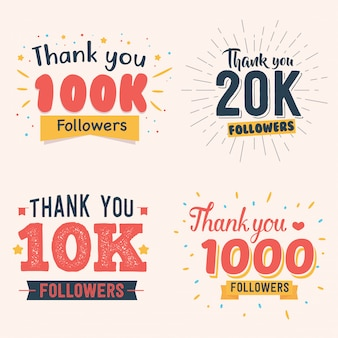 Vector illustration celebrating 100k 20k 10k 1000 follower