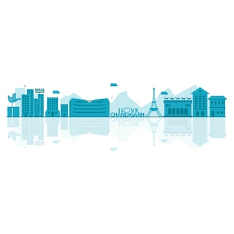 Vector illustration of chandigarh skyline.