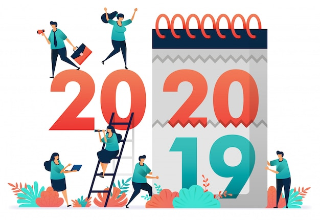 Vector illustration of change of work years from 2019 to 2020.