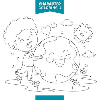 Vector illustration of character coloring page