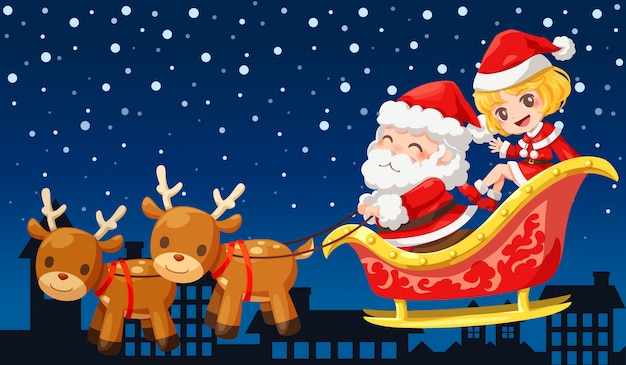 Vector illustration character of santa claus and girlfriend