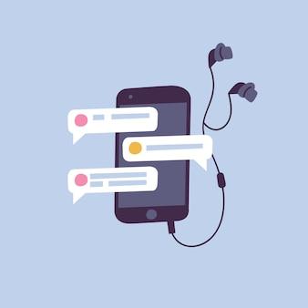 Векторная иллюстрация чаты и концепция обмена сообщениями смартфон с наушниками