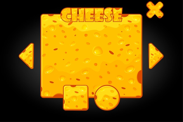 Vector illustration of cheese banner and buttons. cartoon user interface for the game.