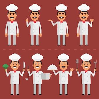 벡터 일러스트 레이 션, 다양한 포즈의 요리사 캐릭터, eps 10 형식.