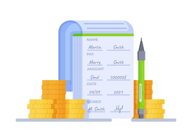 Vector illustration of cheque book abstract illustration with watermark