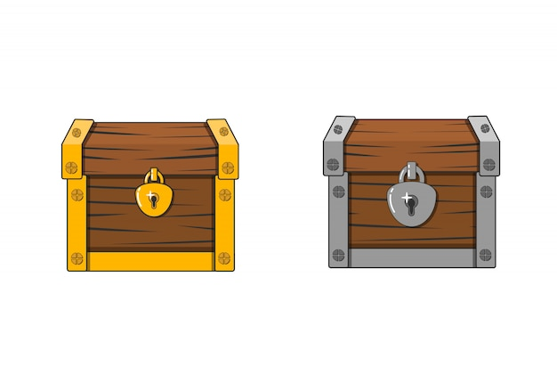 Vector illustration of a chest. closed antique box. wooden mysterious casket.