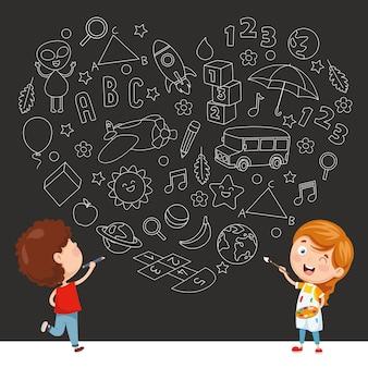 Vector illustration of childish sketch background