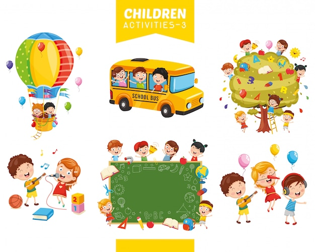 Vector illustration of children activities set
