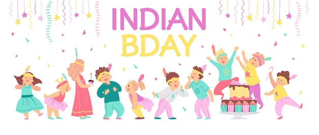 Vector illustration of children birthday indian party flat cartoon style invitation tag card