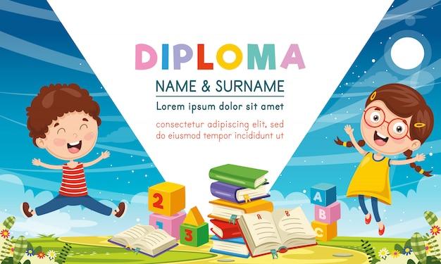 Vector illustration of children diploma