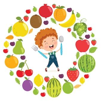 Vector illustration of children food concept