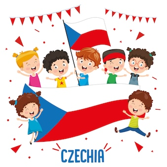 Vector illustration of children holding czechia flag