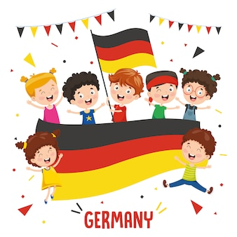 Vector illustration of children holding germany flag