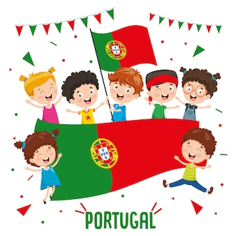 Vector illustration of children holding portugal flag