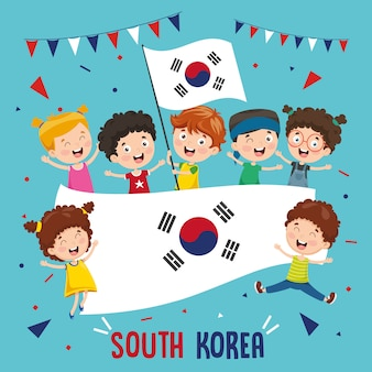Vector illustration of children holding south korea flag