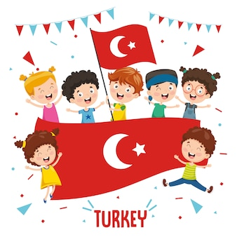 Vector illustration of children holding turkey flag