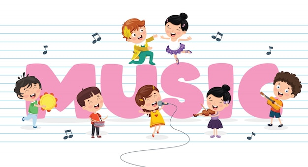 Vector illustration of children music background