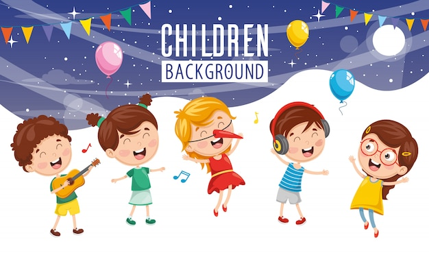 Vector illustration of children party background