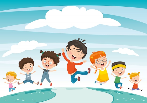 Vector illustration of children playing