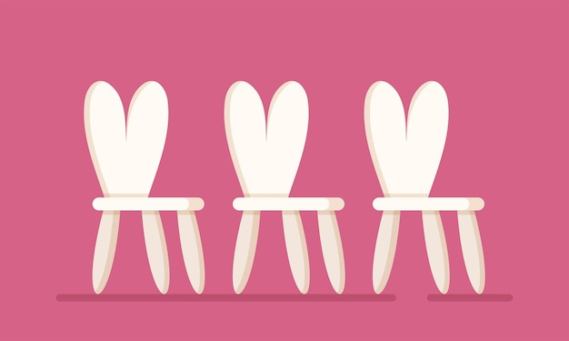Vector illustration of children's chairs. three chairs isolated on a pink background. children's furniture. chairs for kindergarten, children's room, holiday playrooms.