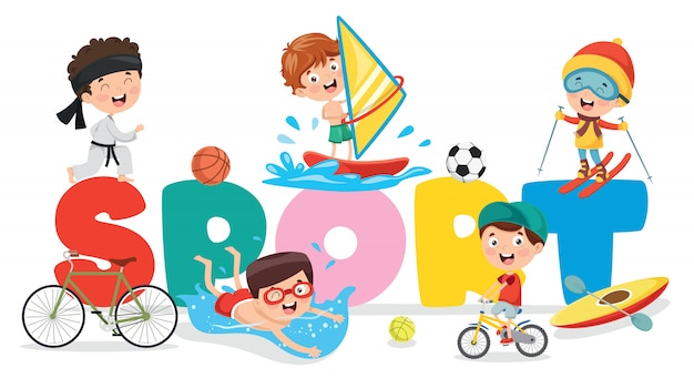 Vector illustration of children sport