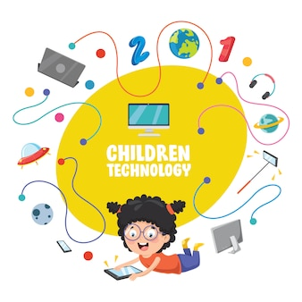 Vector illustration of children technology