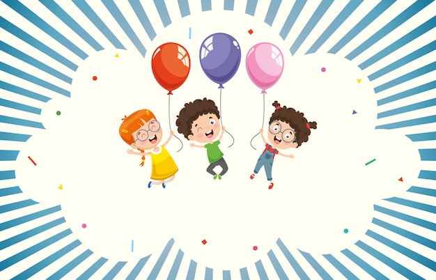 Vector illustration of children with balloon