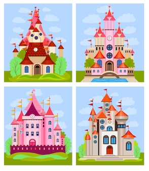 Vector illustration for children with fairy castle and landscape