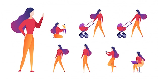 Vector illustration choice motherhood and career.