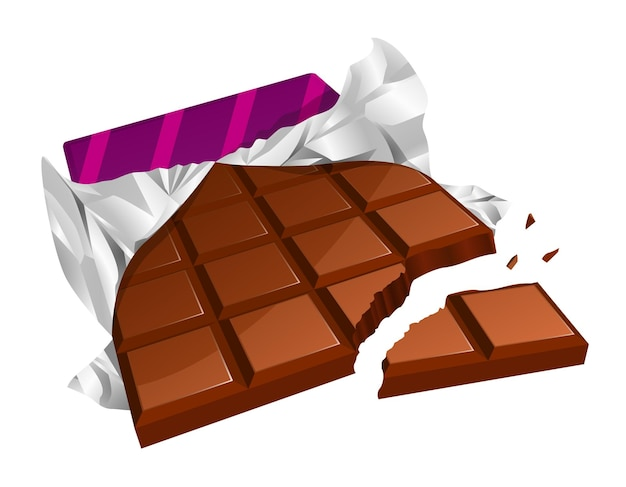 Vector illustration of a chopped chocolate bar with torn packing