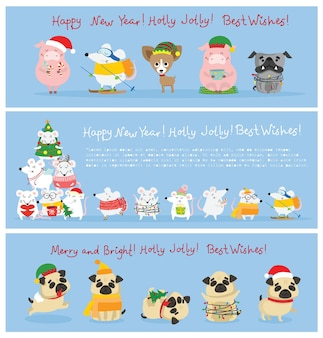 Vector illustration of christmas cats, rats, pigs and dogs with christmas and new year greetings. cute pets with holiday hats in flat style