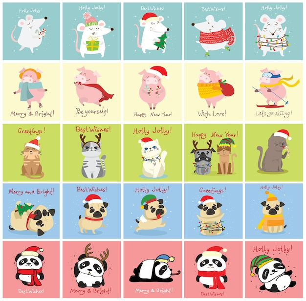 Vector illustration of christmas cats rats pigs and dogs with christmas and new year greetings cute ...