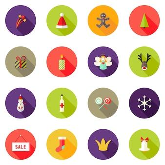 Vector illustration of christmas circle flat icons set 3