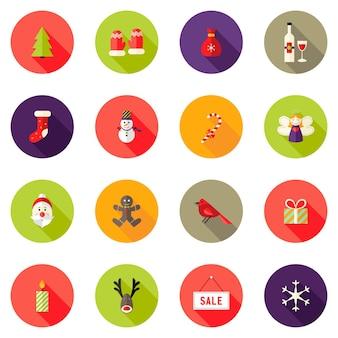 Vector illustration of christmas circle flat icons set 4